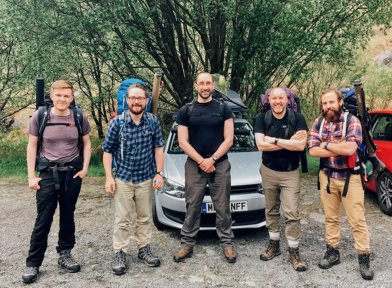 James, Steven, Tom, Andrew & Dan before the arduous climb to Loch Enocho for three nights of fishing and wildcamping